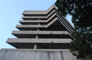 """The """"Sniper Tower"""" in Mostar - originally a bank that was used by snipers during the Bosnian War."""