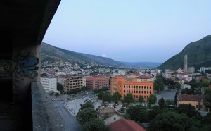 "View of Mostar from the ""Sniper Tower."""