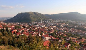 View of Mostar from the mountainside.