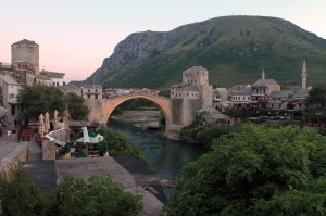 "The Old Bridge (known as ""Stari Most"") in Mostar."