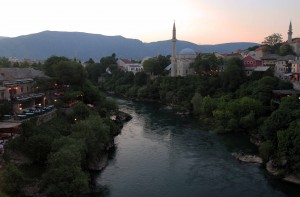 View of the Neretva River, seen from the Old Bridge.