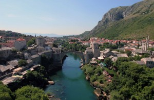 The Old Bridge in Mostar, seen from the minaret at Koski Mehmed-Pasha's Mosque.