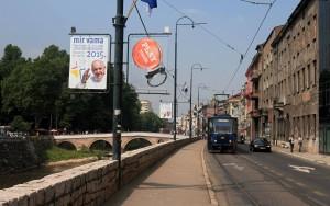 Obala Kulina Bana street in Sarajevo, next to the Paljanska Miljacka River and with the Latin Bridge in view (where Archduke Franz Ferdinand was assassinated).