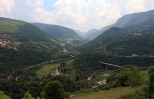 Looking east from Sarajevo, at the Paljanska Miljacka River Valley.