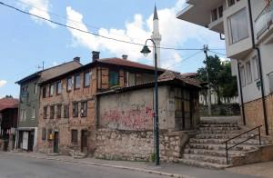 Pop-marked buildings in Sarajevo.