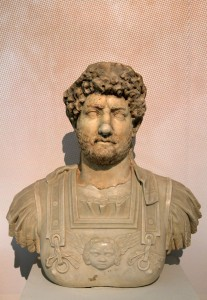 Marble head of Emperor Hadrian (117-138 AD).
