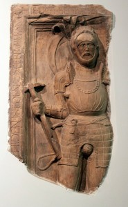 Fragment from the tombstone of a knight (1554 AD).