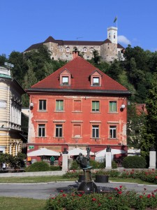 Ljubljana Castle seen from Congress Square.