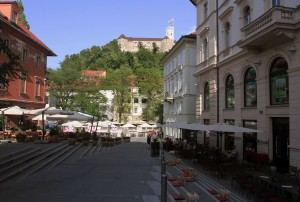 Street with Ljubljana Castle in view.