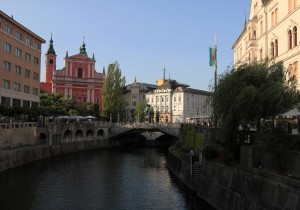 The Triple Bridge over the Ljubljanica River.