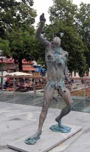 Creepy statue on Butcher's Bridge.
