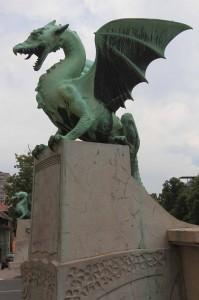 Dragon statues on Dragon Bridge.