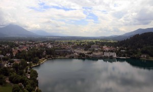 View of the city and Lake Bled from the castle.