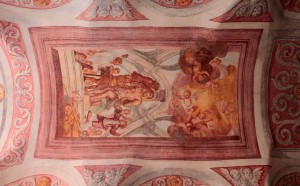 The ceiling inside the Gothic chapel.