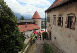Looking out at the lower courtyard from the museum inside Bled Castle.