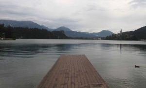 Dock on the west end of Lake Bled.