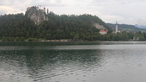 Bled Castle (on the precipice), seen from the south-side of Lake Bled.