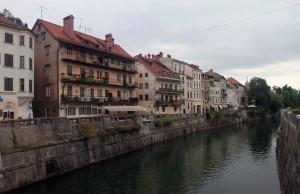 The Ljubljanica River seen from Cobbler's Bridge.