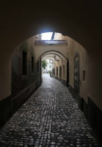 Covered alleyway in Ljubljana.