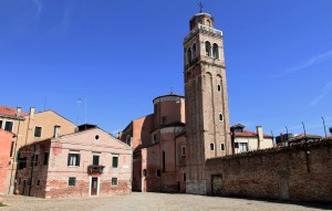 Bell tower and apse of San Sebastiano Church in Venice.