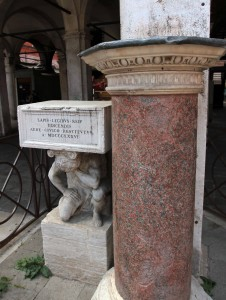 "Statue of a crouching, naked hunchback supporting a small flight of steps (named the ""Hunchback of Rialto"") that was sculpted by Pietro da Salò in the 16th-century AD and used as a podium for official proclamations."