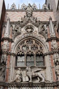 Sculpture of the Winged Lion of Venice over the entrance to the Doge's Palace.