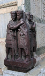Portrait of the Four Tetrarchs (a porphyry sculpture group of four Roman emperors dating from around 300 AD), located on the corner of St. Mark's Basilica.