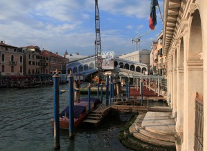 The Grand Canal with the Rialto Bridge in the background (being renovated).