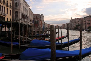 Gondolas docked along the Grand Canal.