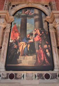 A photographic reproduction of Titian's 'Pesaro Madonna' - it was being restored at the time.