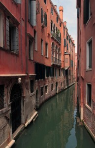A narrow canal in Venice.