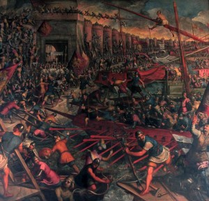 A historic Venetian battle depicted on the wall inside the Chamber of the Great Council.