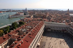 Looking west from the Campanile at the Piazza San Marco and the southern end of the Grand Canal.