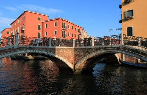 Four bridges connecting with each other in the canals near the Hotel Arlecchino.
