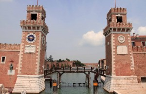 Towers flanking each side of the canal to the Venetian Arsenal.
