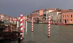 Candy-cane docking poles in the Grand Canal.