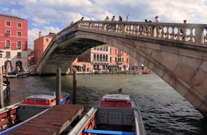 "Closer view of the Ponte degli Scalzi (""Bridge of the Barefoot Monks"")."