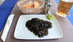 My dinner of Spaghetti al Nero di Seppia (i.e. spaghetti with cuttlefish ink and chunks).