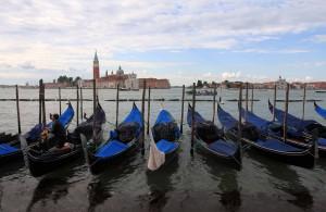 Gondolas docked near the Piazza San Marco.