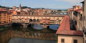 The Ponte Vecchio seen from the Uffizi Gallery.