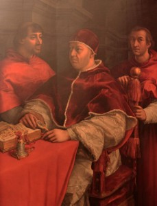 'Portrait of Pope Leo X with Cardinals Giulio de' Medici and Luigi de' Rossi' by Raphael (1518 AD).
