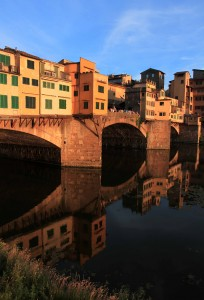 Closeup of the Ponte Vecchio at sunset.