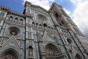 The facade of the Florence Cathedral with Giotto's Bell Tower behind it.
