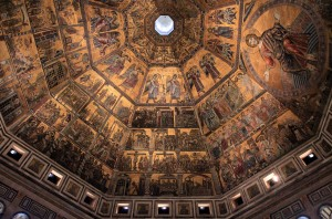 The mosaic ceiling inside the Baptistery.