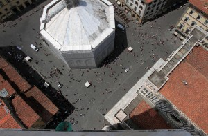 Looking down at the Baptistery (which was under renovation).