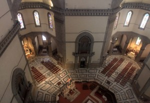 Looking down at the High Altar inside the Florence Cathedral (during my ascent to the cupola on top of the dome).