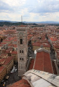 View of Giotto's Bell Tower from the cupola on top of the dome.