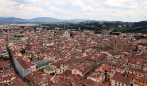 Southeastern view from the cupola with the Basilica of Santa Croce in sight.