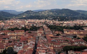 Northward view of Florence from the cupola on top of the Cathedral.