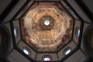 Looking up at the dome from the ground floor inside the Florence Cathedral.